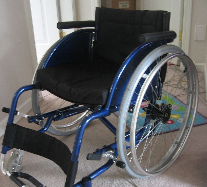 Blue lightweight wheelchair