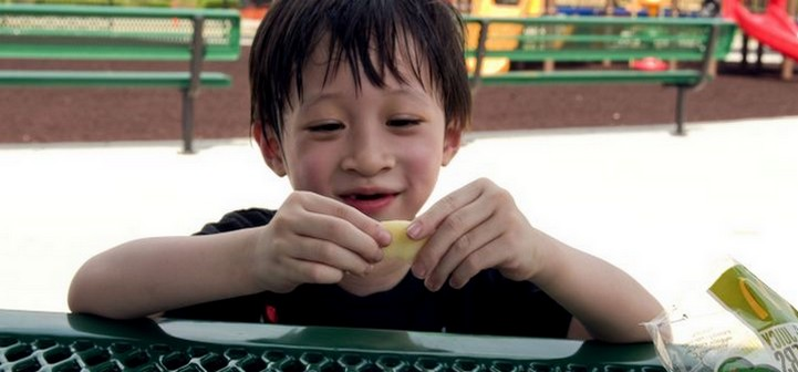 Boy eating snack at picnic table