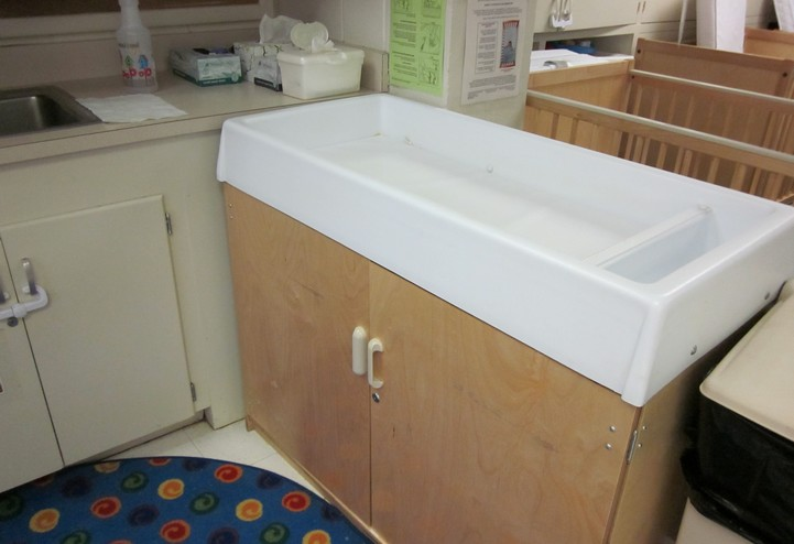 Diapering table in infant room